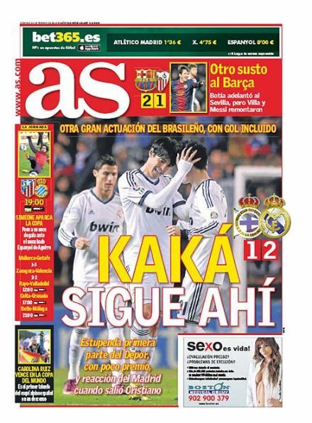 Capa do jornal AS com Kaká - 2013