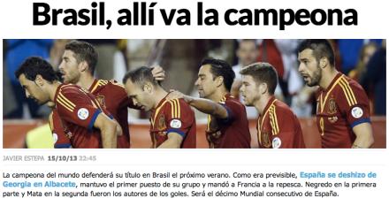 Espanha está na Copa de 2014 no Brasil