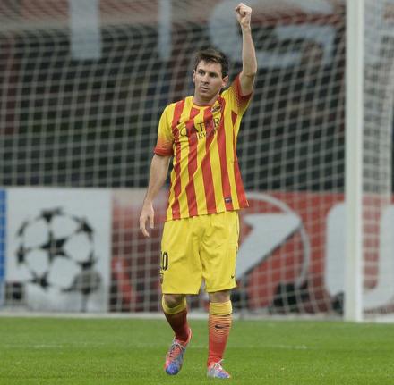Messi marca gol do empate do Barcelona com o Milan
