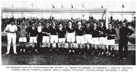titulares da primeira seleção espanhola da história do futebol em 1920